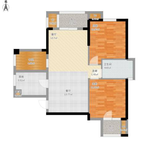 名湖豪庭2室0厅1卫1厨107.00㎡户型图