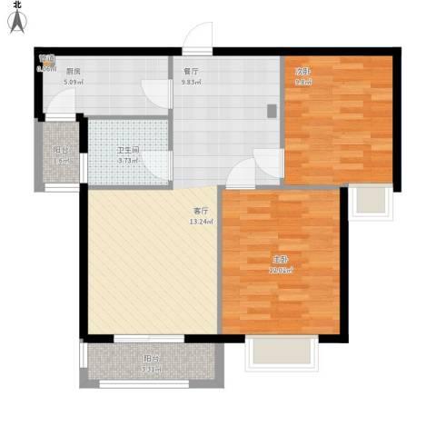 星光银河湾2室0厅1卫1厨83.00㎡户型图