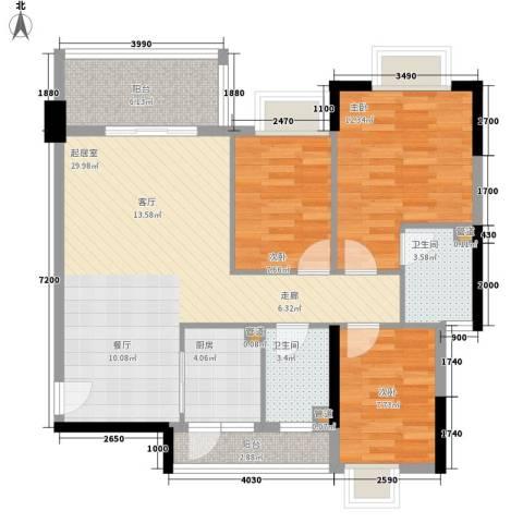 奥米茄花园3室0厅2卫1厨89.00㎡户型图