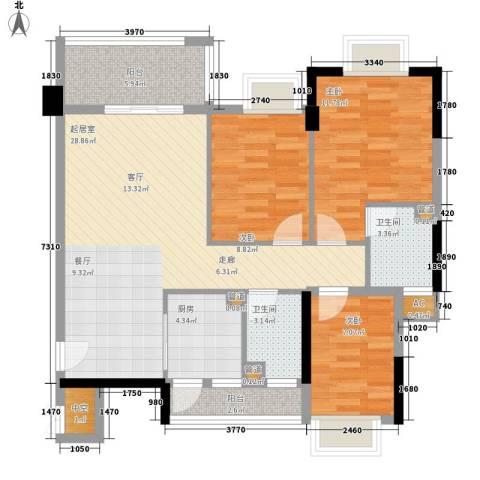 奥米茄花园3室0厅2卫1厨90.00㎡户型图