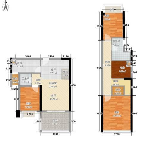 光明大第3室0厅2卫1厨91.29㎡户型图