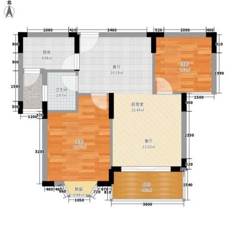 时代庭园2室0厅1卫1厨80.00㎡户型图