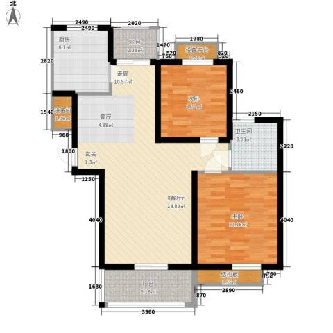 保利金爵公寓2室1厅1卫1厨86.00㎡户型图