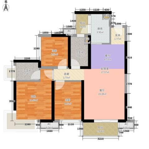 中航天逸3室0厅2卫1厨86.00㎡户型图