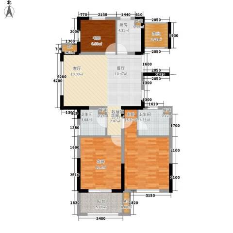 宇恒明月星城3室0厅2卫1厨111.00㎡户型图