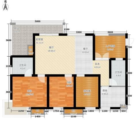 九鼎蓝波湾2室0厅2卫1厨105.00㎡户型图