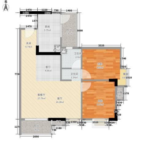 尚东峰景2室1厅1卫1厨80.00㎡户型图