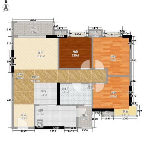 尚东峰景3室1厅1卫1厨94.00㎡户型图