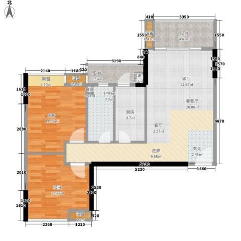尚东峰景2室1厅1卫1厨83.00㎡户型图