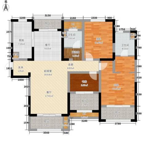 华润置地橡树湾3室0厅2卫1厨130.00㎡户型图