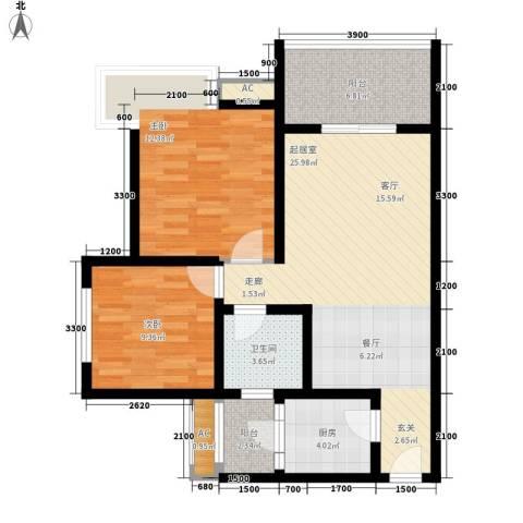 九鼎蓝波湾2室0厅1卫1厨83.00㎡户型图