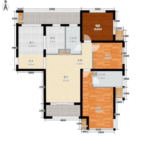 永兴大厦3室2厅2卫1厨150.00㎡户型图