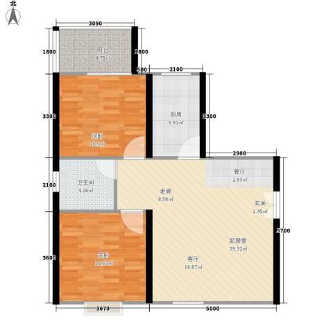 上林沣苑2室0厅1卫1厨93.00㎡户型图