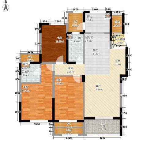 宇恒明月星城3室0厅2卫1厨126.00㎡户型图