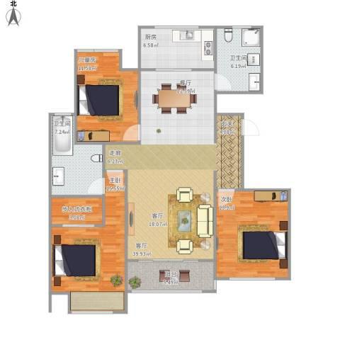 万和华府3室1厅2卫1厨147.00㎡户型图