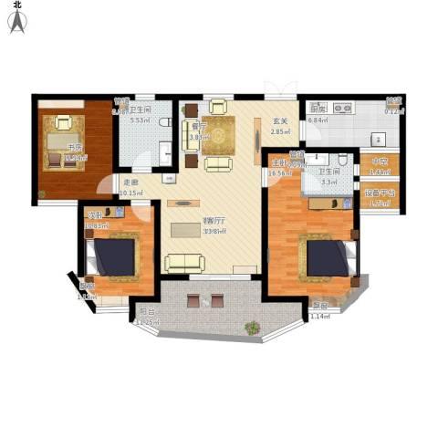 绍兴天下3室1厅2卫1厨145.00㎡户型图