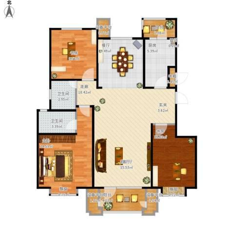康城·瑞河兰乔3室1厅2卫1厨130.00㎡户型图