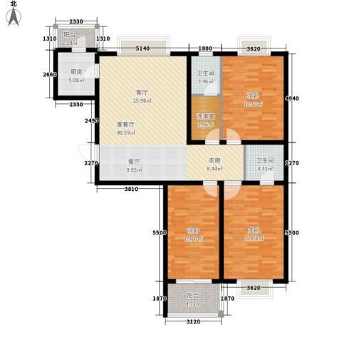 大马庄园3室1厅2卫1厨129.00㎡户型图