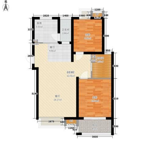 自由都市(乐活家园)2室0厅2卫1厨86.00㎡户型图