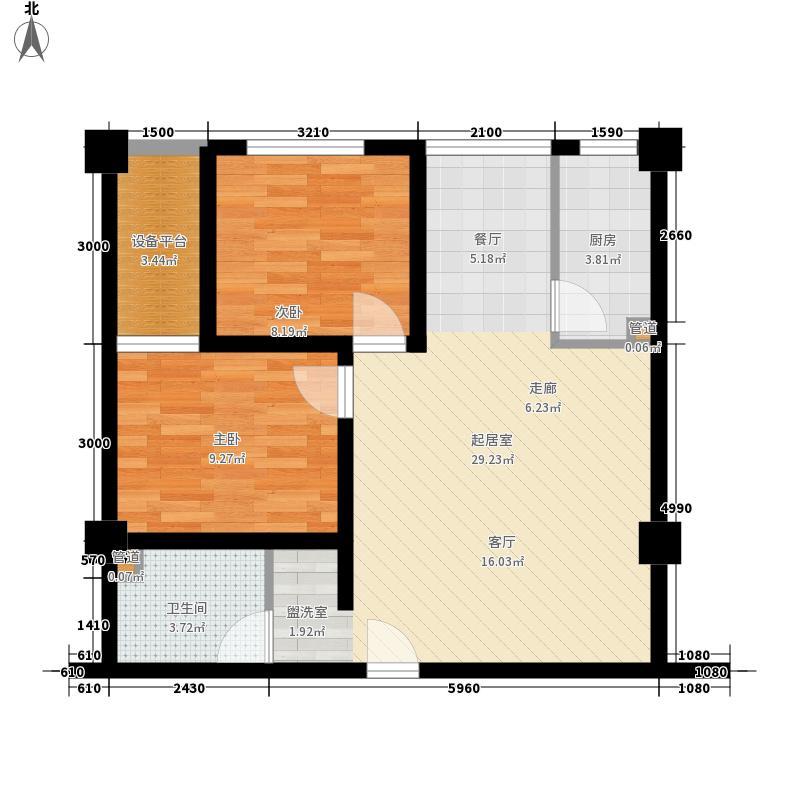 金府国际78.01㎡一期六号楼D户型2室2厅1卫1厨