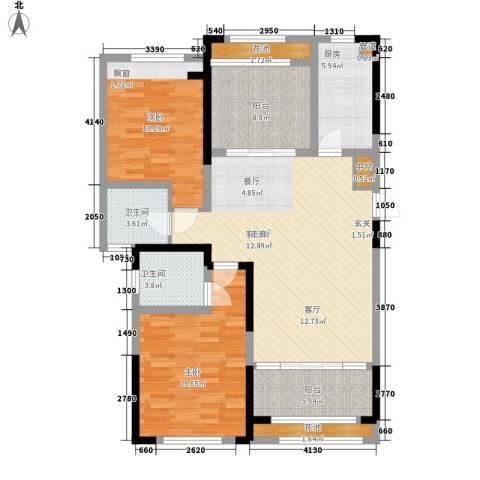 香榭一品2室1厅2卫1厨108.00㎡户型图