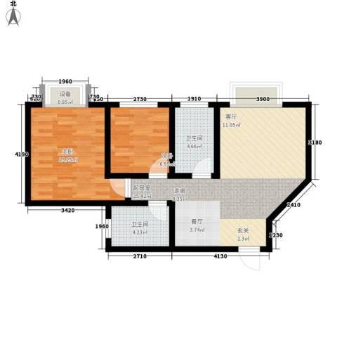 东城翡翠湾2室0厅2卫0厨81.00㎡户型图