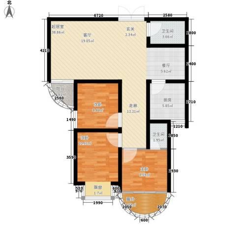 上林沣苑3室0厅2卫1厨117.00㎡户型图