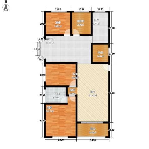 卢湾都市花园3室1厅2卫1厨126.00㎡户型图