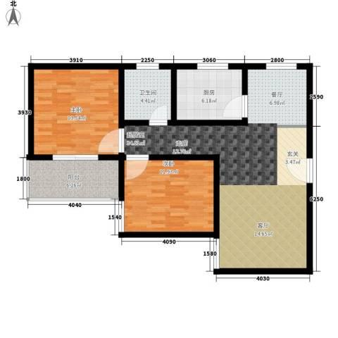 子午美居2室0厅1卫1厨88.00㎡户型图