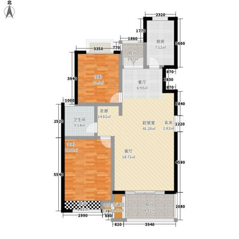 品家都市星城一期2室0厅1卫1厨107.00㎡户型图