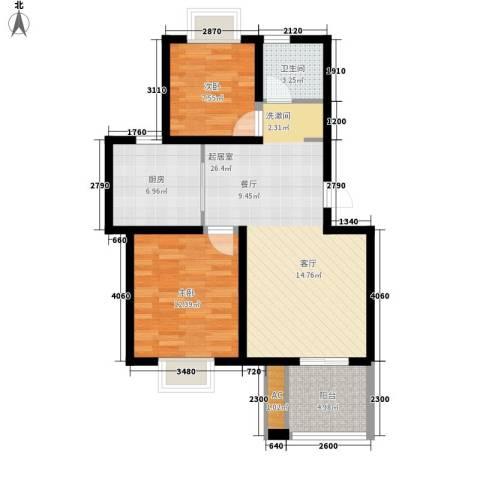 星联邦2室0厅1卫1厨72.00㎡户型图