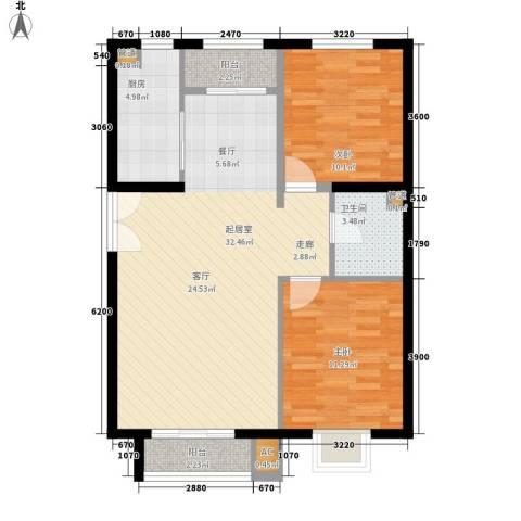 银隆花苑2室0厅1卫1厨75.00㎡户型图