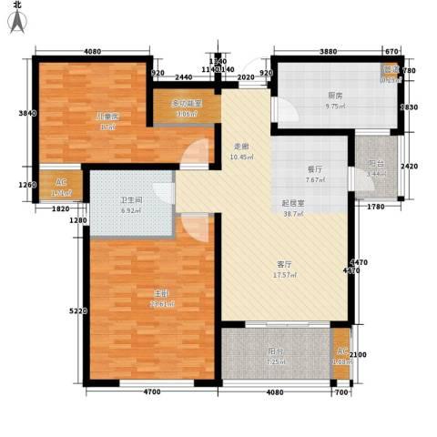 新地国际公寓御景2室0厅1卫1厨124.00㎡户型图