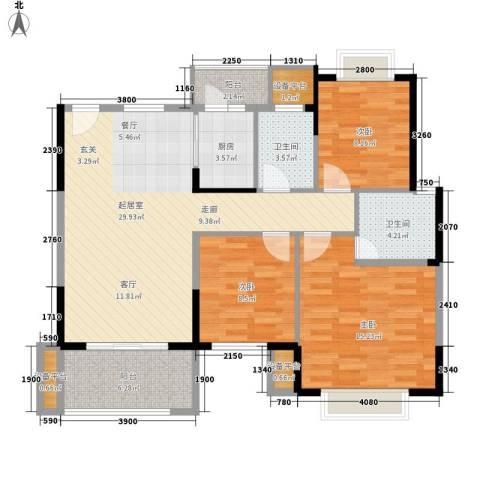 老师楼宿舍3室0厅2卫1厨118.00㎡户型图
