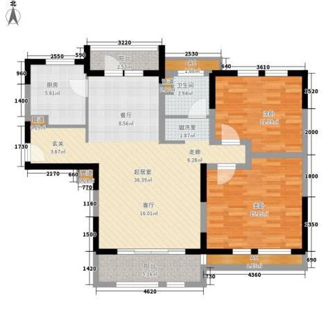 华润置地橡树湾2室0厅1卫1厨95.00㎡户型图