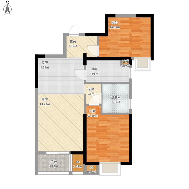 名湖豪庭户型图9号楼B5户型2室面积89㎡
