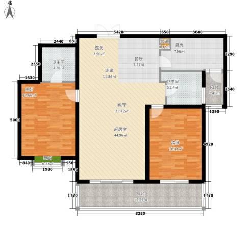 蒙特利名都城2室0厅2卫1厨125.00㎡户型图