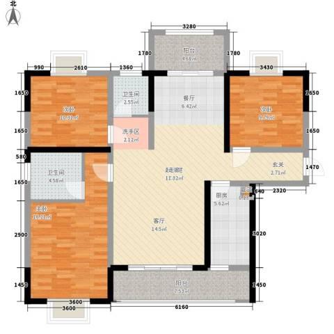 华银天际二期3室0厅2卫1厨130.00㎡户型图