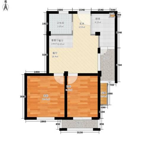 嘉鸿新都汇2室1厅1卫1厨68.00㎡户型图