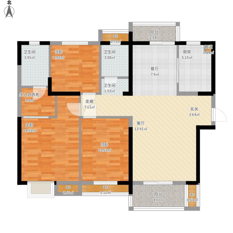 名湖豪庭户型图8号楼D6户型3室125㎡