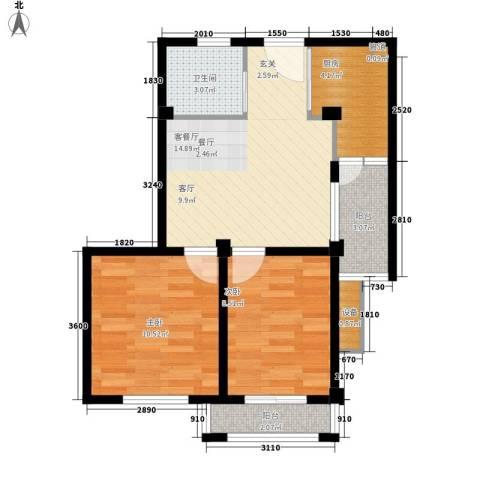 盛泽东方花园2室1厅1卫1厨69.00㎡户型图