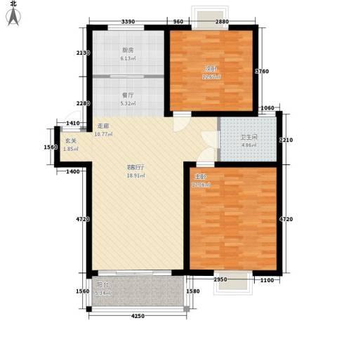 望馨花苑2室1厅1卫1厨94.00㎡户型图