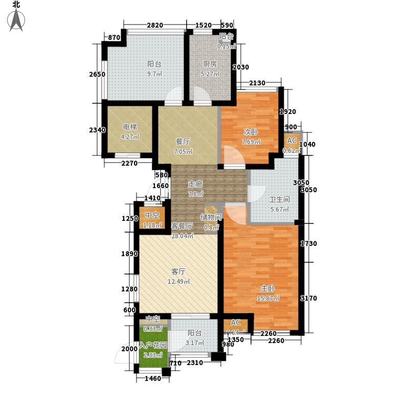 百乐广场99.53㎡G3户型2室2厅1卫面积99.53平方米户型2室2厅1卫