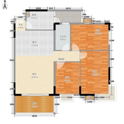宏新富苑3室1厅1卫1厨132.00㎡户型图