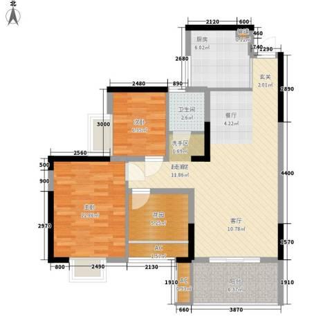 华银天际二期2室0厅1卫1厨88.00㎡户型图