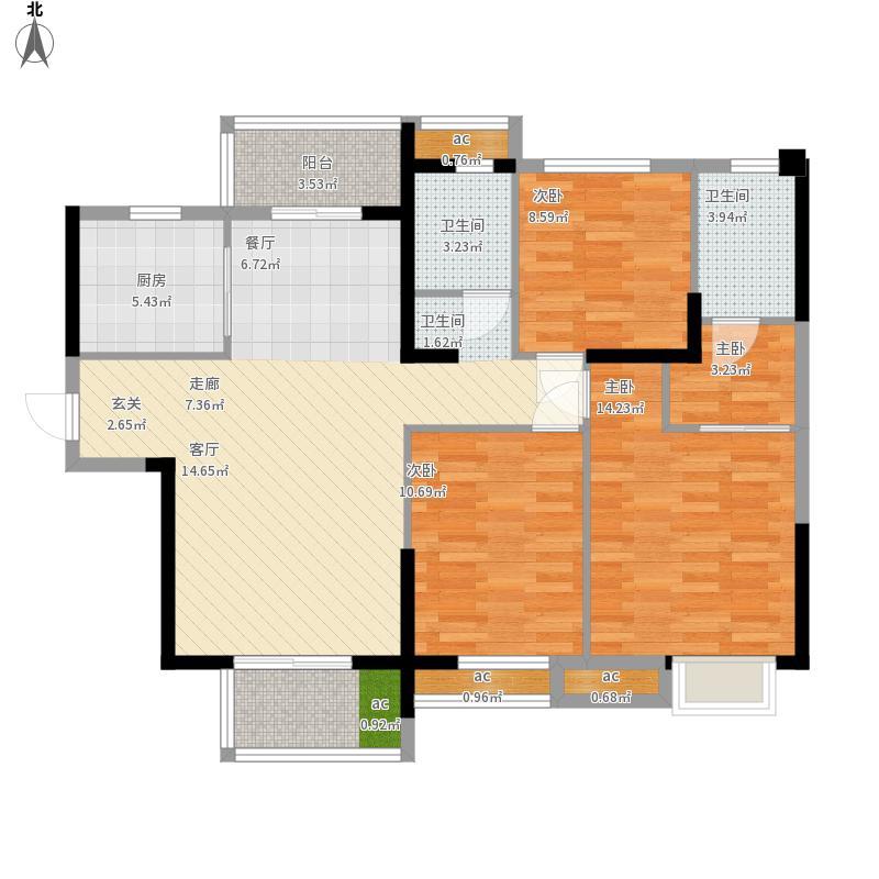 名湖豪庭户型图10号楼D4户型3面积124㎡