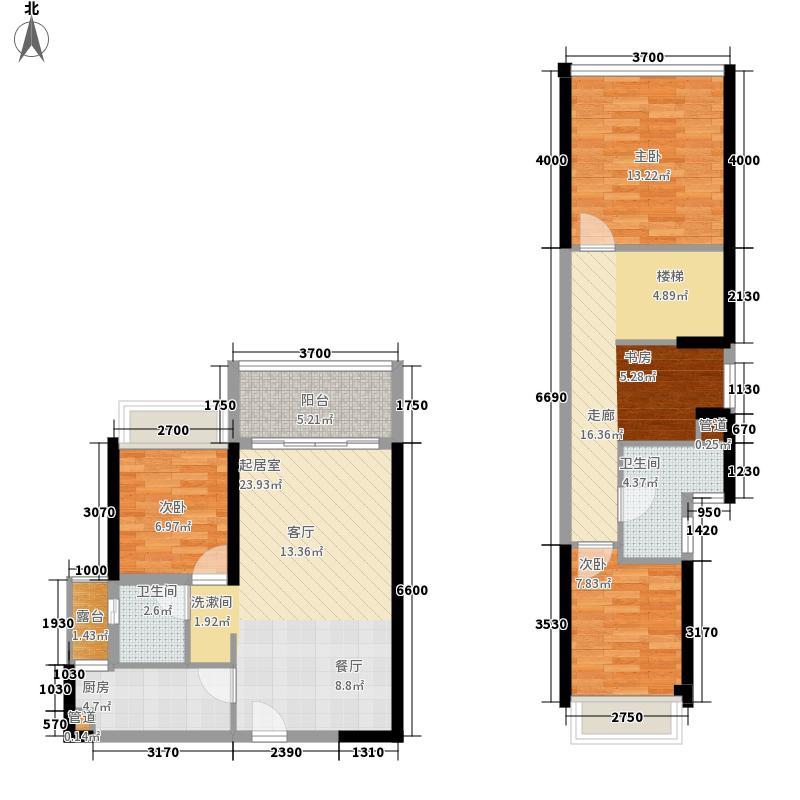 光明大第户型图1、2栋B户型83平 4室2厅2卫1厨