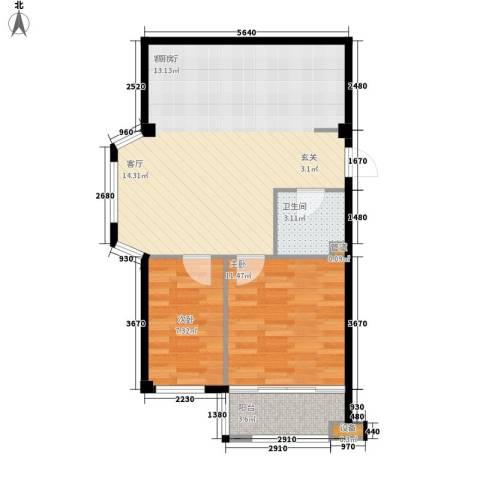 盛福家园2室1厅1卫0厨62.00㎡户型图