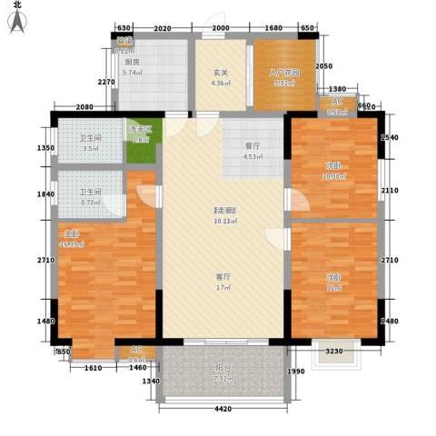 华银天际二期3室0厅2卫1厨126.00㎡户型图