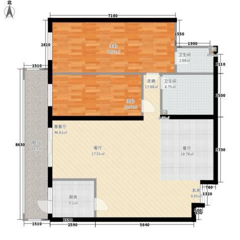 龙福家园2室1厅2卫1厨116.00㎡户型图